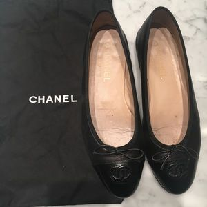 Authentic BLK Chanel Ballet Flat - Size 38 - VGUC